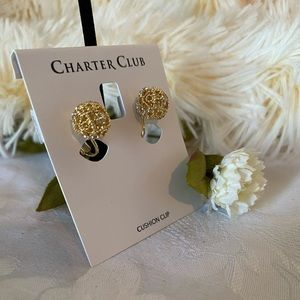 Charter club:Gold-Tone clip-on stud Earrings